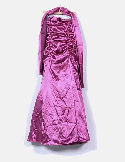 Vestido rosa satinado con tul  y chal  Lissa