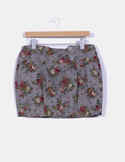 Falda tubo gris con estampado floral Suiteblanco