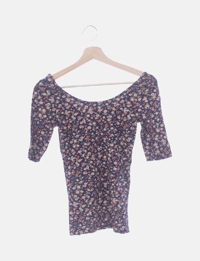Camiseta estampado floral espalda escotada