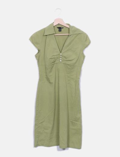 Vestido escote drapeado verde H&M