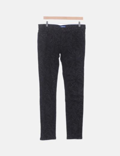 Jeans denim negro estampado