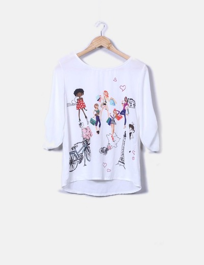 Camiseta cruda print girls NoName