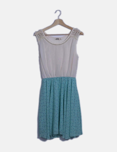Vestido gasa combinado bicolor