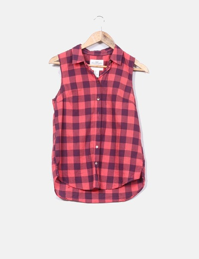 Camisa de cuadros coral H&M