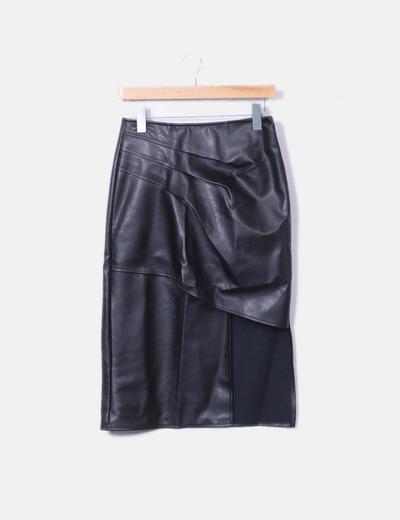 3ffd8335f2ef5 Storets Falda midi polipiel negra (descuento 53%) - Micolet