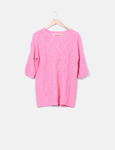 Jersey de punto rosa manga francesa Zara