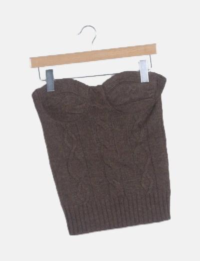 Camiseta palabra honor lana marrón