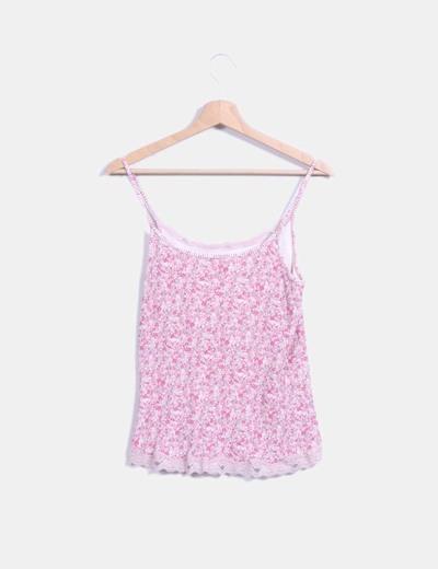 Camiseta canale estampada con puntilla