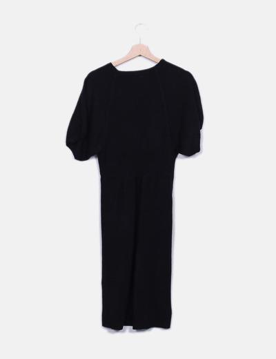 Vestido tricot negro escote pico
