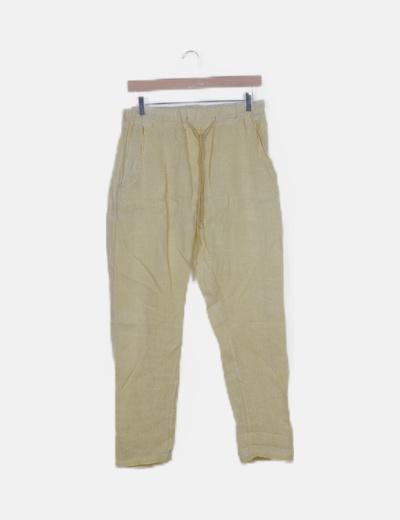Pantalón fluid amarillo con cordón