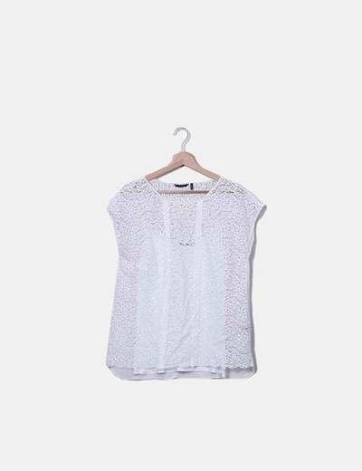 Camiseta blanca de encaje con camiseta interior Massimo Dutti