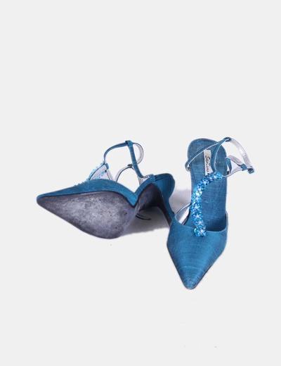 Zapato azul petroleo de puntera con pedreria