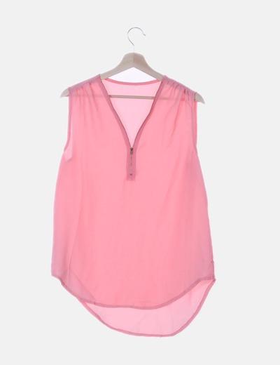 Blusa gasa rosa con cremallera