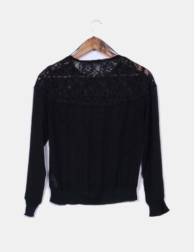 a un precio razonable mejor calidad bonita y colorida Blusa transparente negra con encaje