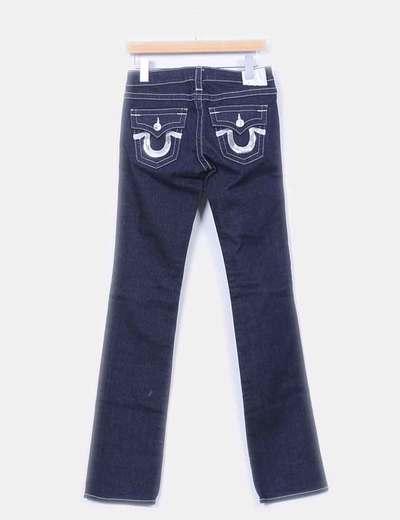 Jeans denim azul oscuro costuras blancas