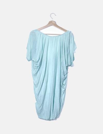 Vestido drapeado turquesa
