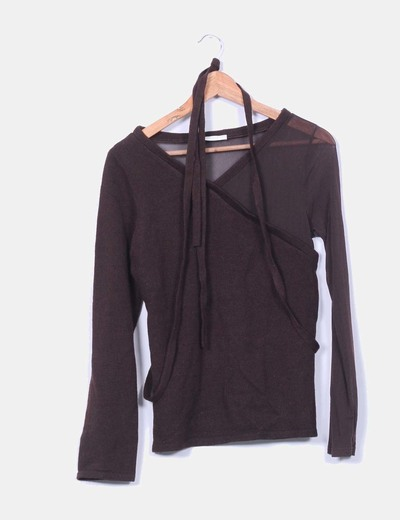 Jersey tricot marrón combinado Promod