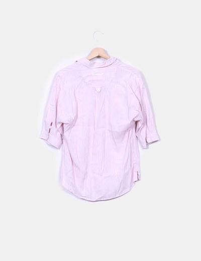 Camisa de rayas color rosa manga francesa