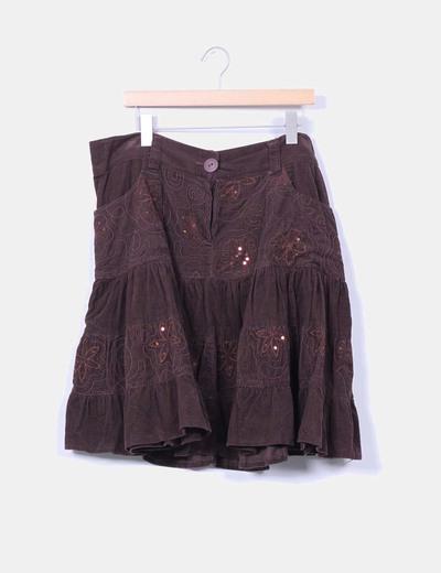 Falda de pana marrón con volantes Kanak