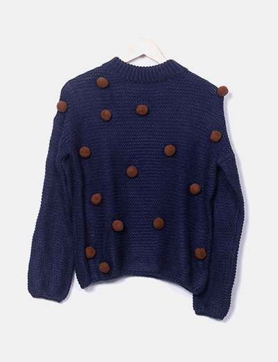 Jersey azul marino bolas marrones