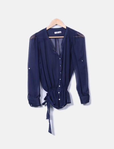 Blusa azul marina semitranparente Celop