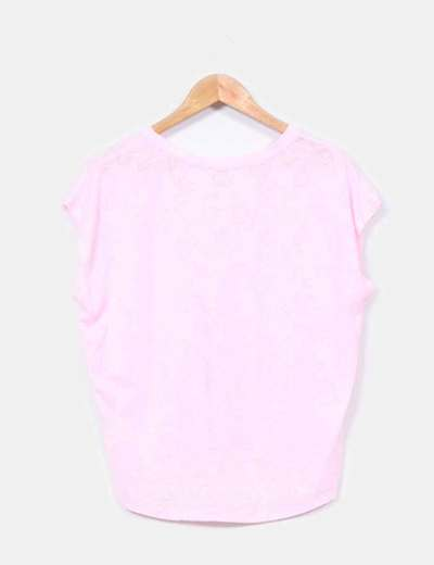 Top escote pico rosa semitransparente