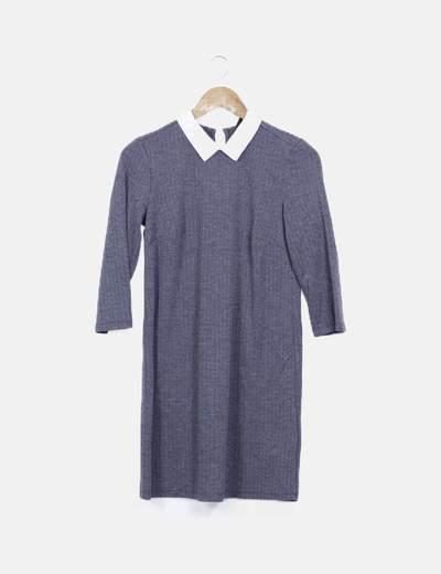 Vestido gris jaspeado detalle cuello