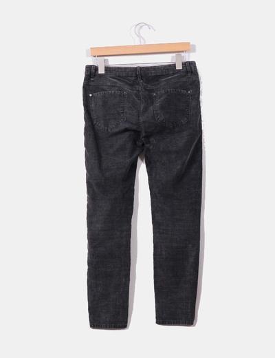 Pantalon pitillo pana gris marengo