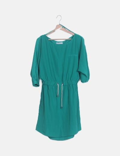 Vestido verde cintura elástica