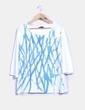 Top blanco con print azul brillantina Elena Miró
