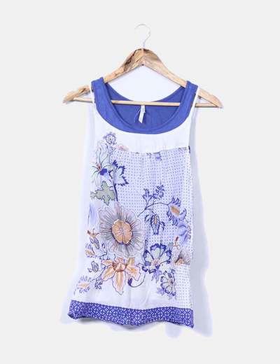 Camiseta combinada azul y blanca estampada Bershka