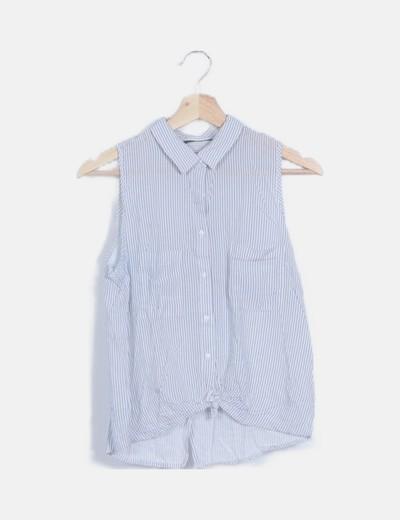 Camisa rayas azul bolsillos
