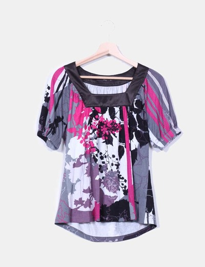 Camiseta estampada escote raso