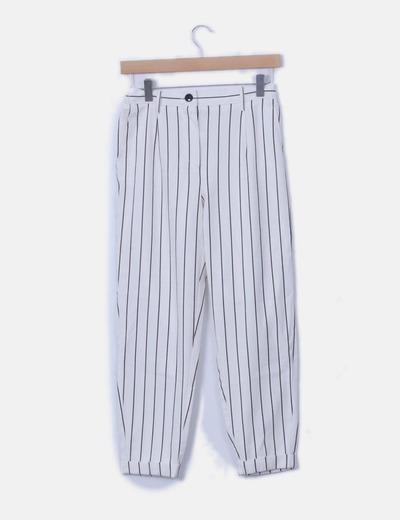 Pantalón chino blanco rayas