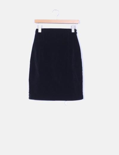 Velvet black midi skirt El Corte Inglés