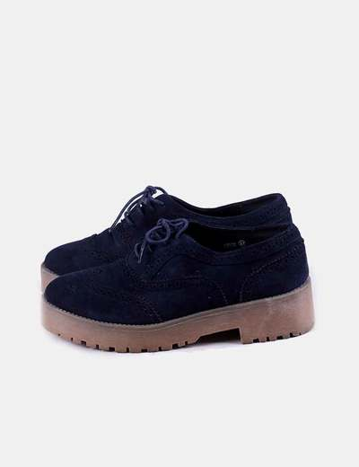 Zapato azul marino con cordones Corina