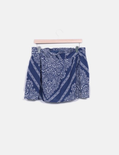 Mini falda estampada azul