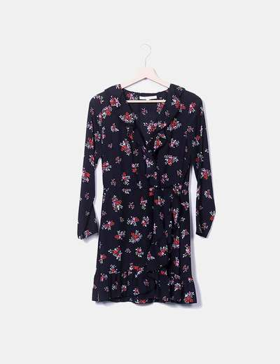 Vestido preto estampado floral Easy Wear