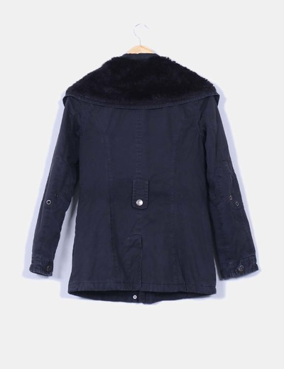 0d51558c0e7 Pimkie Abrigo negro con cuello de pelo (descuento 89%) - Micolet
