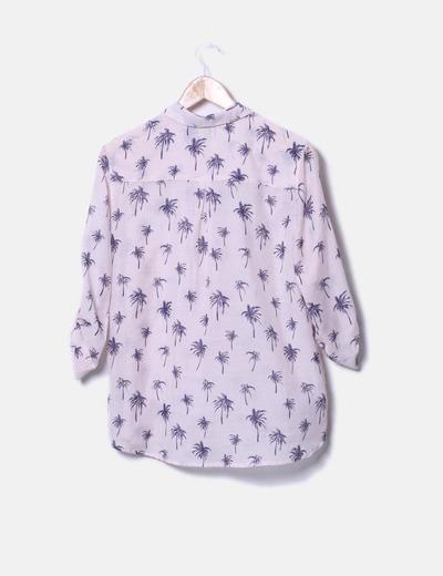 venta caliente mejor amado bien baratas Camisa rosa print palmeras