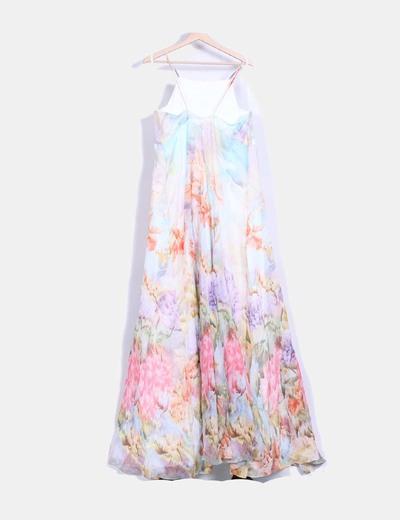 Vestido seda maxi floral evase