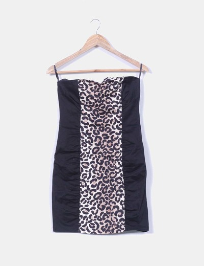 Vestido palabra de honor negro estampado animal print Suiteblanco
