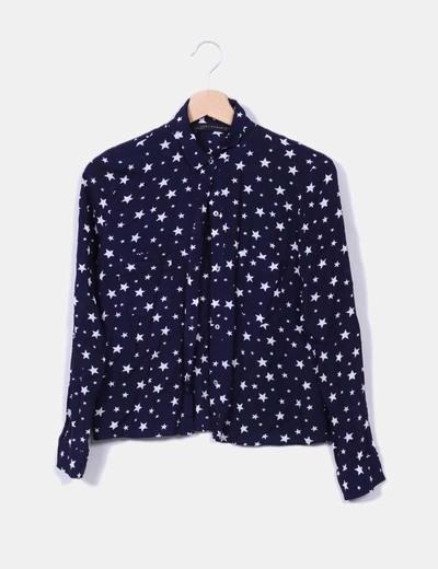 Camisa azul marino estrella Zara