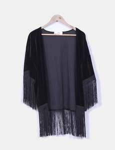 Kimono terciopelo negro Mango