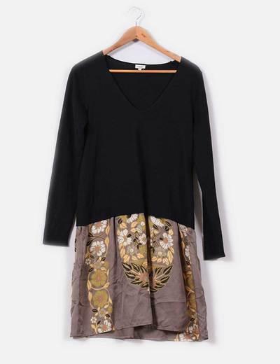 Vestido doble tejido negro con falda estampada Hoss Intropia
