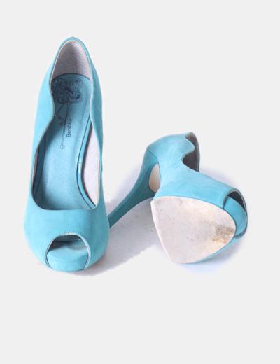 Zapatos peep toe turquesa