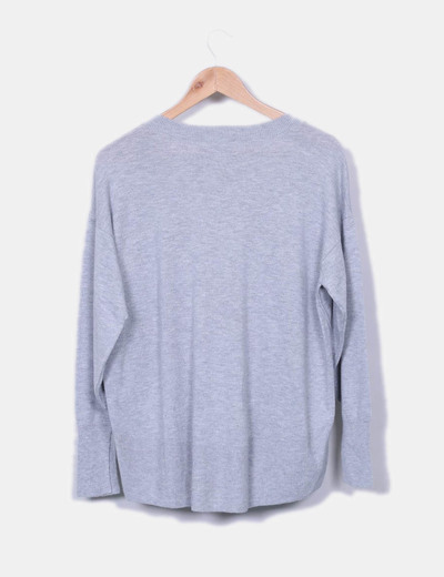 Jersey oversize gris escote pico