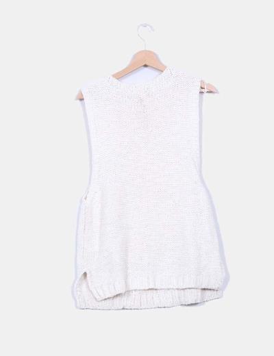 Jersey crudo de punto sin mangas
