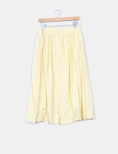 Falda midi amarilal NoName