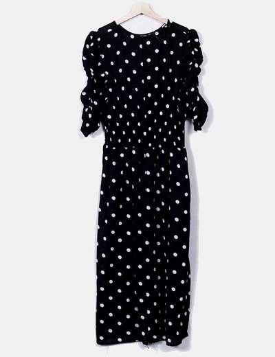 H M Black Midi Dress With Polka Dots Discount 72 Micolet